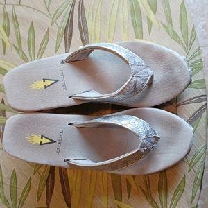 Silver Sequin Sandal sz 7